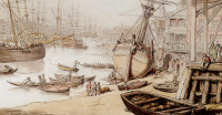 Wench a_view_on_the_thames_with_numerous_ships_and_figures_on_the_wharf-rowlandson 1818 crop