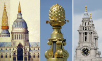 Wench c.1685-1710- pineapple on the towers of present St. Paul's Cathedral  London