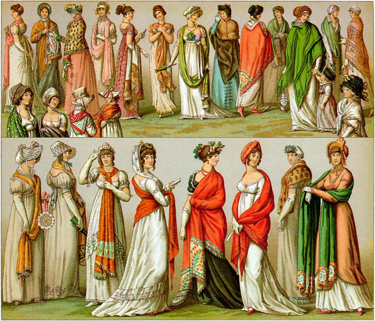 Wench 1802 to 14 a-variety-of-wearing-shawls-in-early-19th-century-france-lithograph-1802-1814-768x658